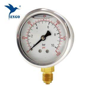 60mm caixa de aço inoxidável conexão de latão tipo de fundo medidor de pressão 150PSI óleo cheio medidor de pressão